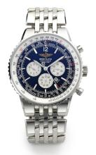 BREITLING | A STAINLESS STEEL CHRONOGRAPH WRISTWATCH WITH DATE REGISTERS AND BRACELET<br />REF A35340 CASE 230662 NAVITIMER CIRCA 2000