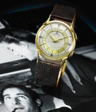 LECOULTRE | A YELLOW GOLD CENTER SECONDS WRISTWATCH WITH ALARM<br />MVT 992480 CASE 82195 MEMOVOX CIRCA 1960
