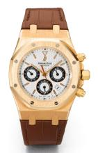 AUDEMARS PIGUET | A PINK GOLD AUTOMATIC CHRONOGRAPH WRISTWATCH WITH DATE<br />CASE G72518 NO 2589 ROYAL OAK CIRCA 2008