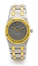 AUDEMARS PIGUET | A STAINLESS STEEL AND YELLOW GOLD AUTOMATIC WRISTWATCH WITH BRACELET <br />NO. 955 ROYAL OAK CIRCA 1990