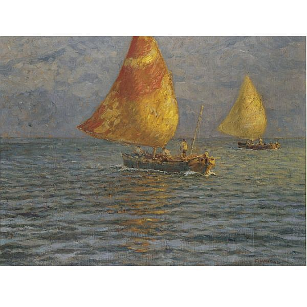 Ugo Flumiani, (Trieste 1876 - 1938) , a day's sailing oil on canvas
