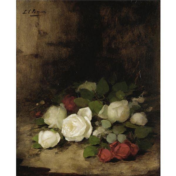 Louise Ellen Perman 1854-1921 , still life of roses oil on canvas