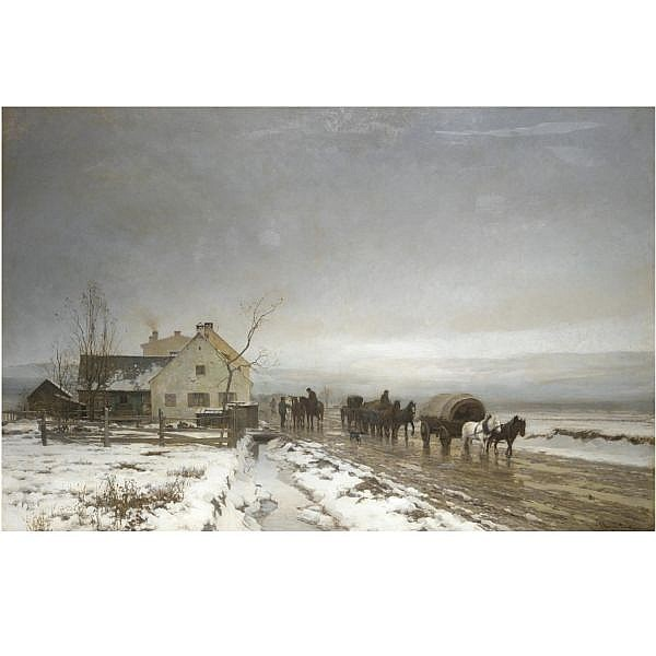 Anders Andersen-Lundby 1840-1923 , the long and wintery road oil on canvas