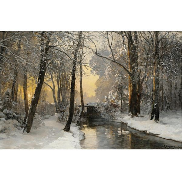 Anders Andersen-Lundby Danish, 1840-1923 , Winter Woodland at Dawn oil on canvas
