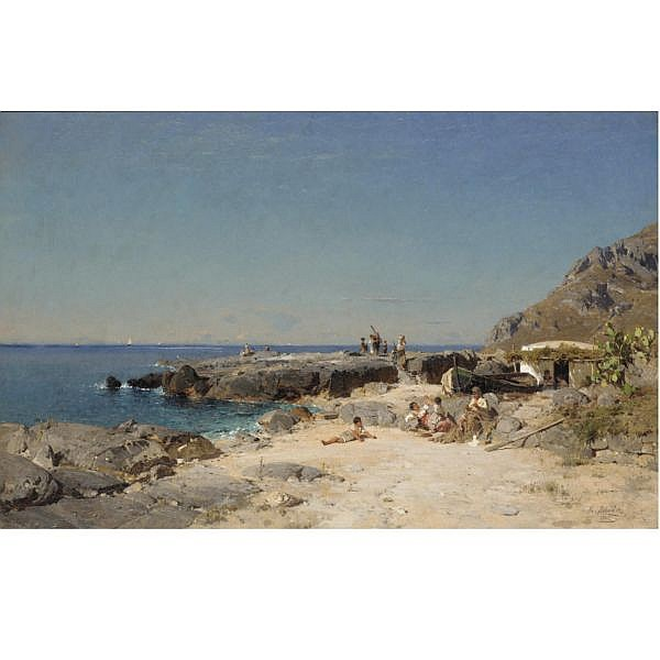 Rudolph Heinrich Schuster 1848-1902 , Marina Piccola, Capri oil on canvas