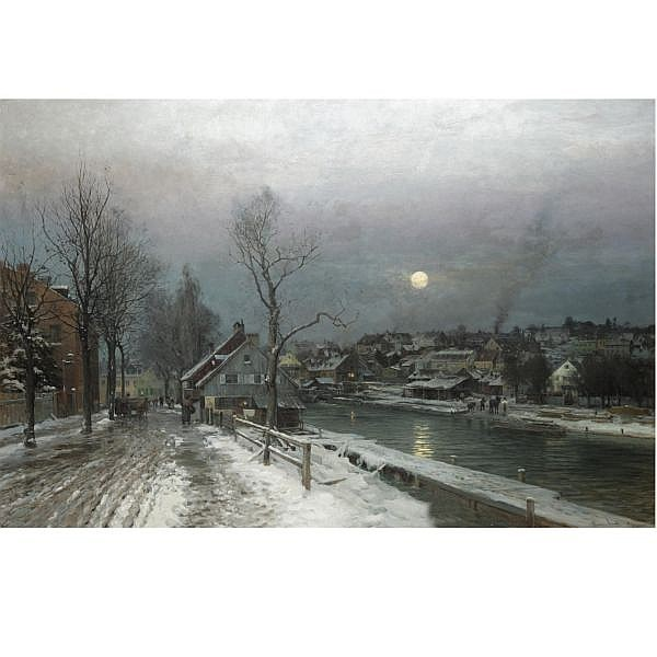 Anders Andersen-Lundby 1840-1923 , a busy town in moonlight oil on canvas