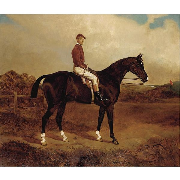 William Osborne 1823-1901 , tinder-box with captain lummie harford (scots guards) up oil on canvas