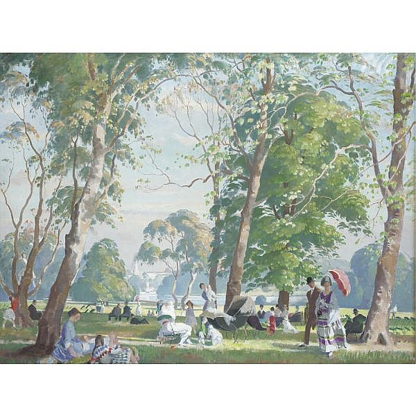 Philip Connard, R.A. 1875-1958 , kensington gardens oil on canvas