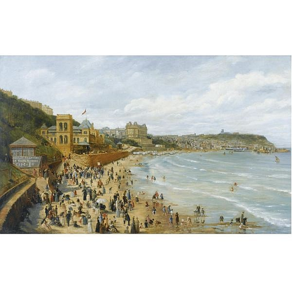 Adolph Behrens b. 1865 , A View of Scarborough oil on canvas