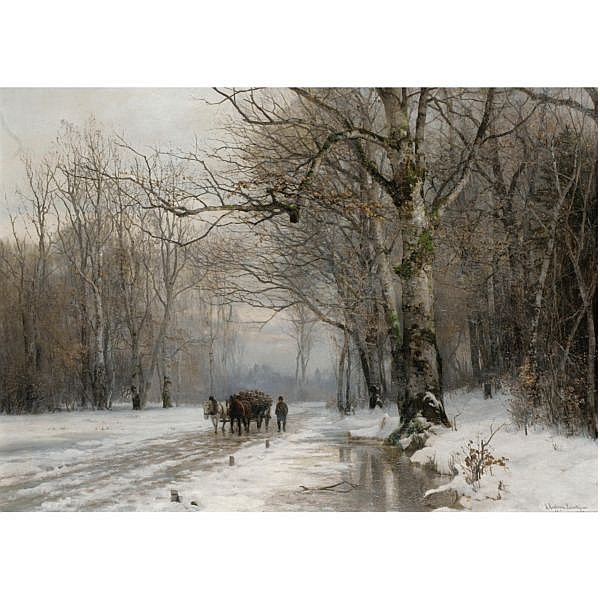 Anders Andersen-Lundby Danish, 1840-1923 , winter landscape with a horse-drawn cart oil on canvas