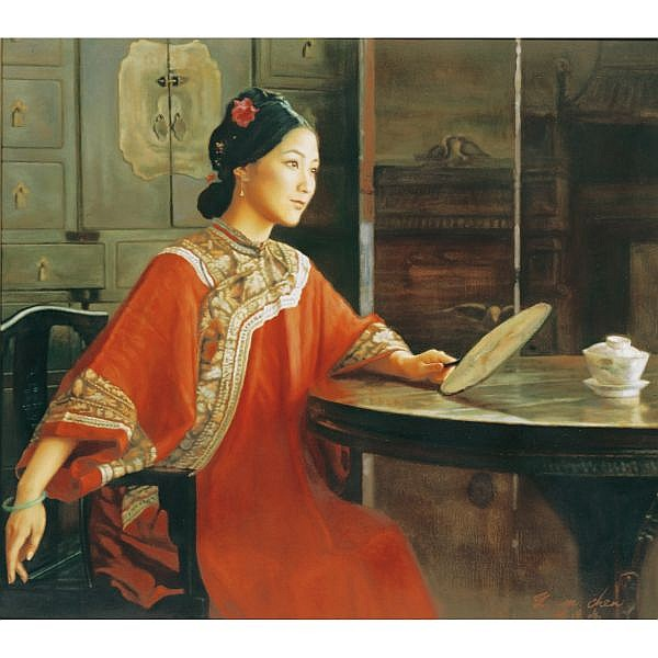 Chen Yiming , B. 1951 Afternoon Tea in Red oil on canvas