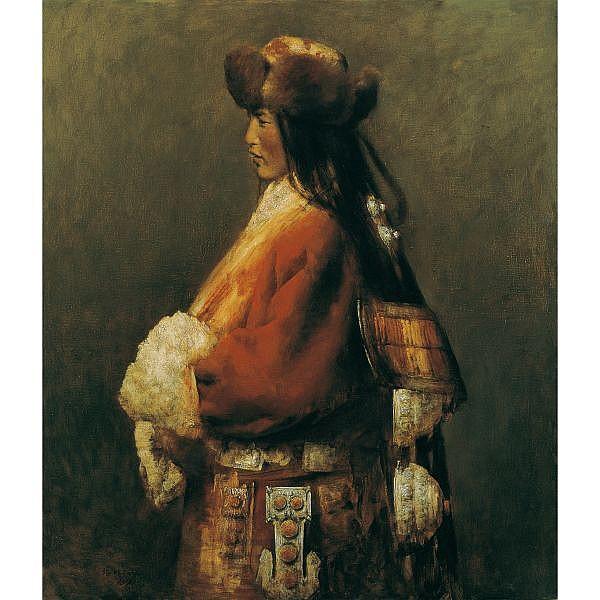 Zhang Li , B. 1958 Tibetan Young Woman at the Qinghai Lake oil on canvas