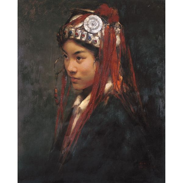Zhang Li , B. 1958   Nu Girl oil on canvas