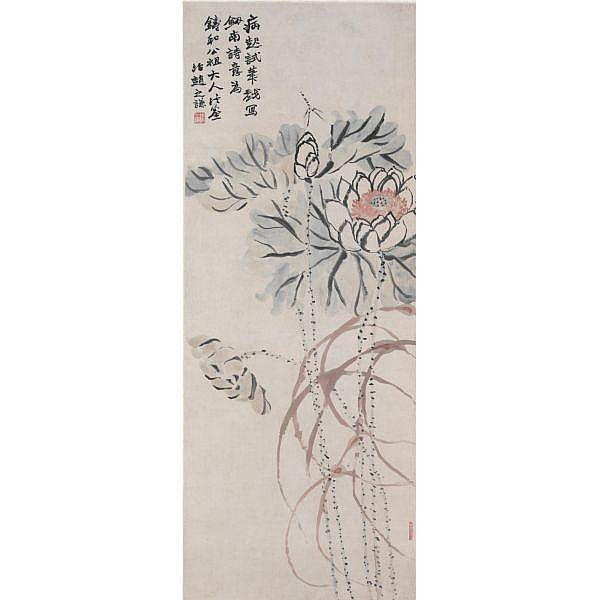 Zhao Zhiqian 1829-1884 , Lotus and Dragonfly ink and color on paper, hanging scroll