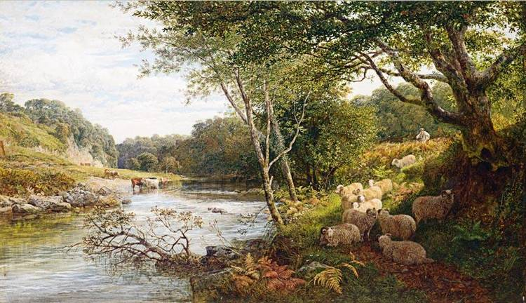 GEORGE SHALDERS 1826-1873 A SHEPHERD AND SHEEP ON A BANK BY A RIVER, CATTLE WATERING BEYOND