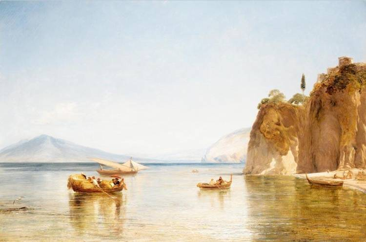 WILLIAM COLLINS R.A.  1788-1847 A SCENE TAKEN FROM THE CAVES OF ULYSSES AT SORRENTO, THE