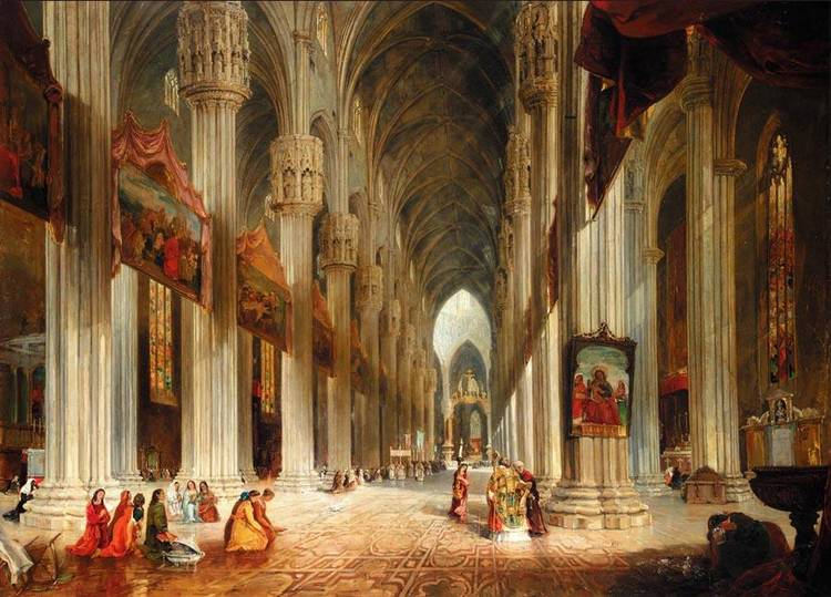 JAMES HOLLAND 1800-1870 A INTERIOR VIEW OF MILAN CATHEDRAL