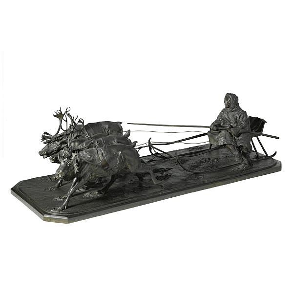 Nikolai Ivanovich Lieberich, 1828-1883 , A Bronze group of a traveller on reindeer-drawn sleigh bronze, dark brown patina