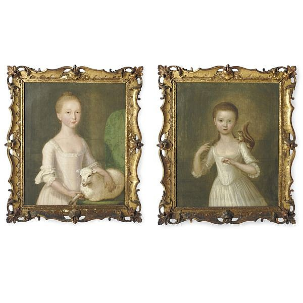 Cosmo Alexander 1724-1772 , Girl with Squirrel and Girl with Lamb: A pair of portraits oil on canvas
