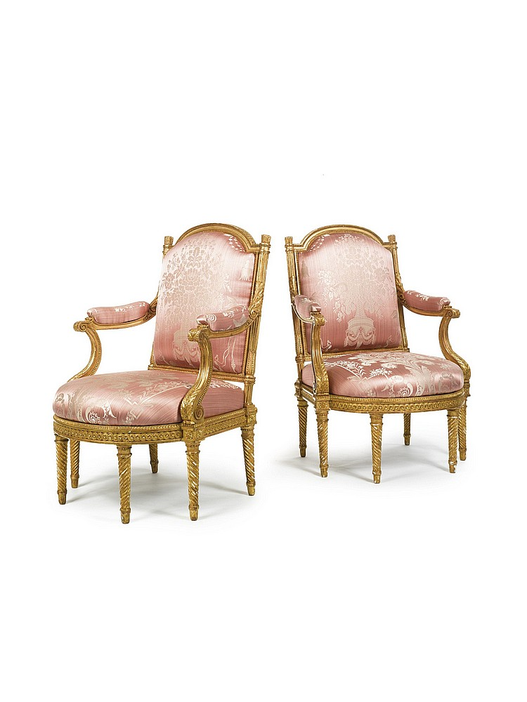 A PAIR OF LOUIS XVI CARVED GILTWOOD FAUTEUILSCIRCA 1780, STAMPED H. JACOB