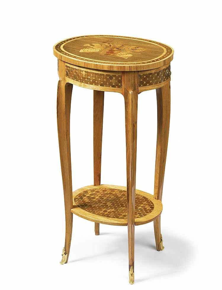 A LOUIS XV/XVI TRANSITIONAL ORMOLU-MOUNTED TULIPWOOD, FRUITWOOD AND MARQUETRY TABLE EN CHIFFONNIÈRETHIRD QUARTER 18TH CENTURY, STAMPED ROUSSEL JME