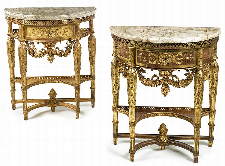 A MATCHED PAIR OF LOUIS XVI CARVED GILTWOOD CONSOLE TABLESCIRCA 1780, ONE STAMPED J. F. LELEU JME