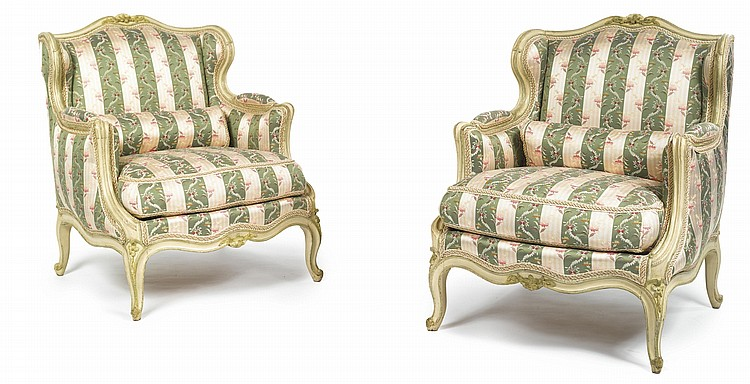 A  PAIR  OF  LOUIS  XV  GREEN  AND  CREAM-PAINTED  BERGÈRES  À  OREILLESCIRCA  1760,  ONE  STAMPED  AVISSE