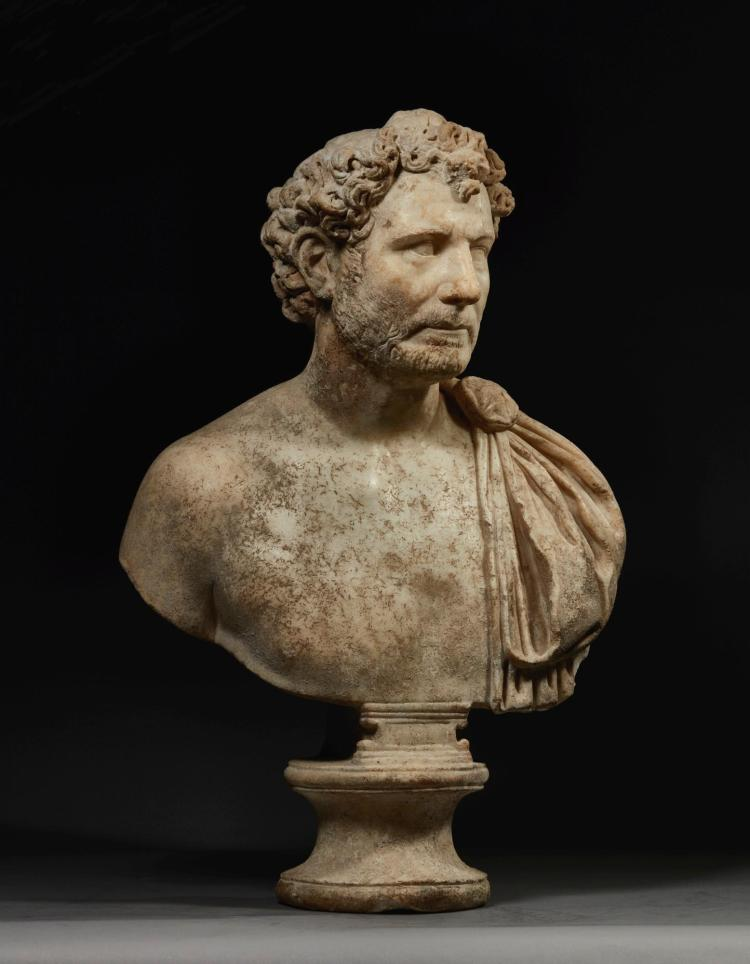 A Marble Portrait Bust Of A Man Roman Imperial Early Anton