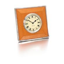 LEATHER 8 DAY DESK TIMEPIECE, CARTIER, CIRCA 1950