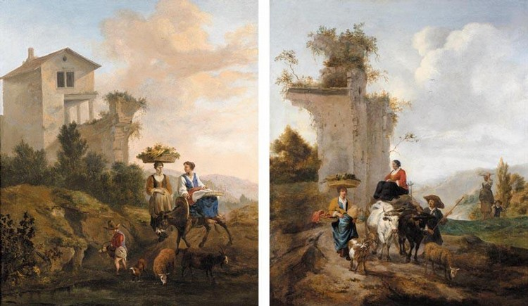 HENDRIK MOMMERS HAARLEM 1623 - 1693 AMSTERDAM ITALIANATE LANDSCAPES WITH DROVERS AND THEIR ANIMALS