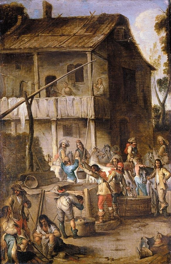 CORNELIS DE WAEL ANTWERP 1592 - 1667 ROME SOLDIERS BEFORE A TAVERN DRAWING WATER FROM A WELL AND