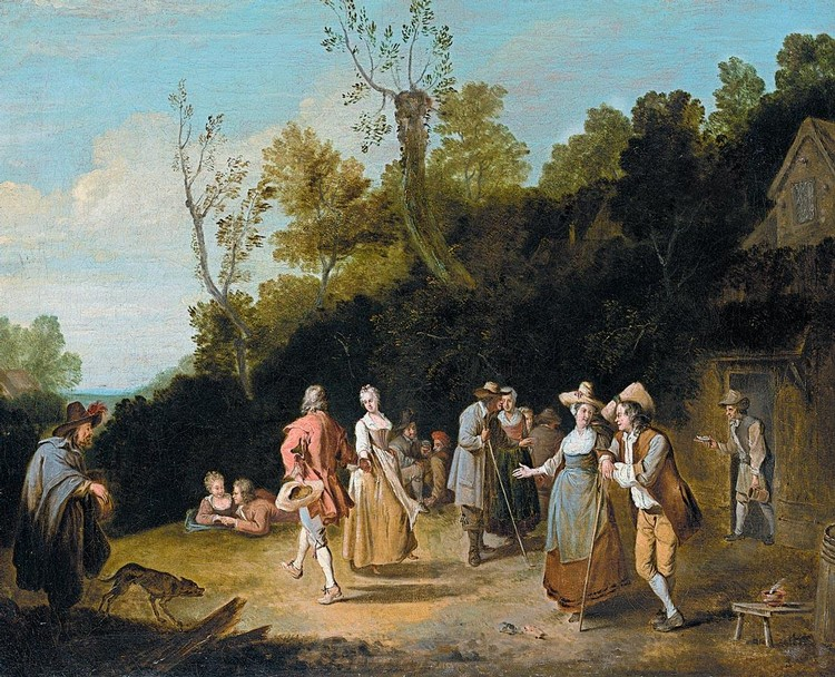 PROPERTY FROM A PRIVATE COLLECTION PIETER ANGILLIS DUNKIRK 1685-1734 RENNES VILLAGE SCENE WITH A