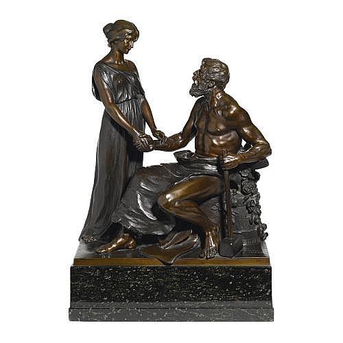 Martin Götze, b. 1865, German. A bronze figural group 'Arbeit Krönt'