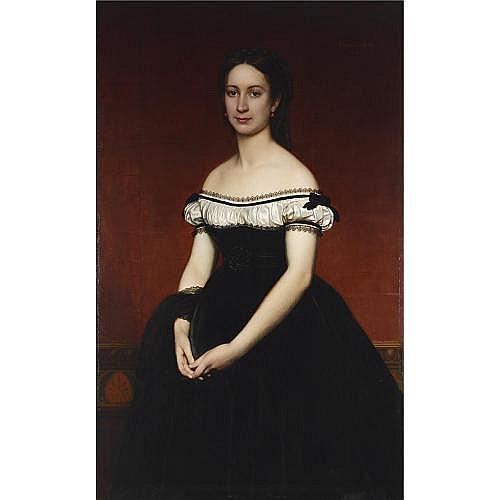 Joseph Henri François van Lerius 1823-1876 , a portrait of Mme M. Lynen, standing three quarter lenght, wearing a black velvet dress