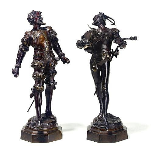 Auguste de Wever, 1836-1884, Belgian. Two bronze sculptures 'Mephistopheles' and 'Valentin'