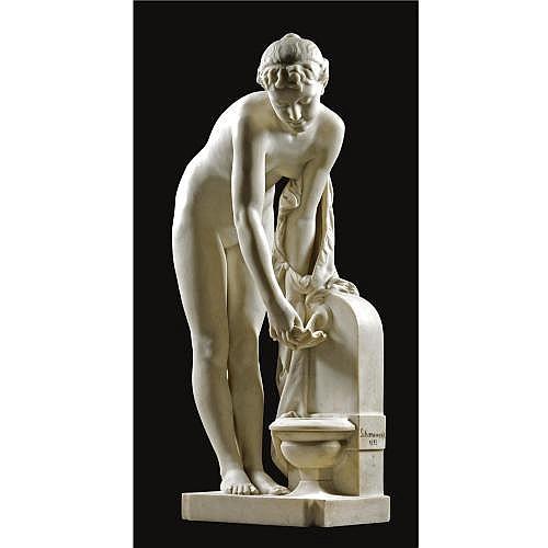 Alexandre-Pierre Schoenewerk French, 1820-1885 , Jeune fille à la fontaine (a nude at a fountain)