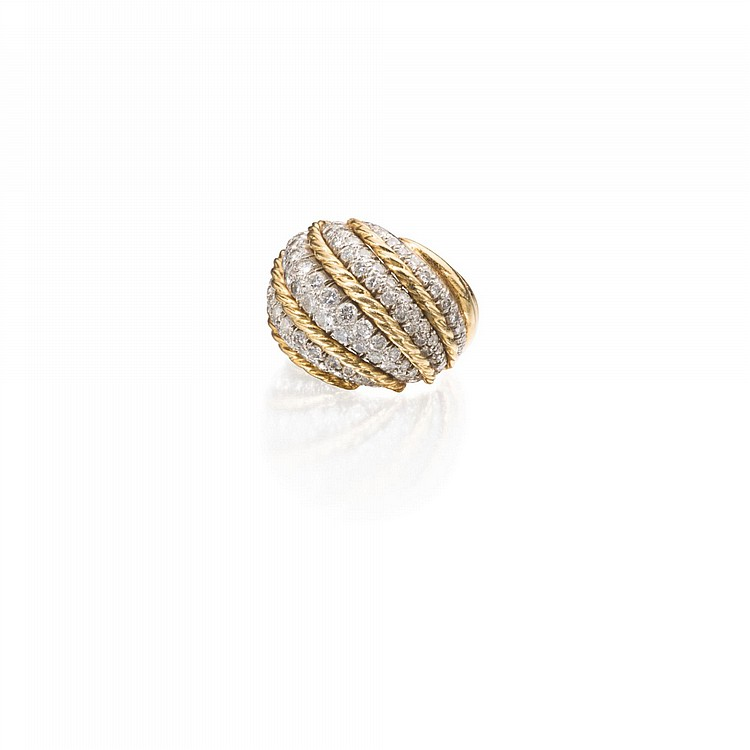 18 KARAT GOLD PLATINUM AND DIAMOND RING VAN CLEEF & ARPELS