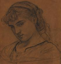 ALBERT JOSEPH MOORE, A.R.W.S.   Portrait of a Girl, Probably Milly Jones