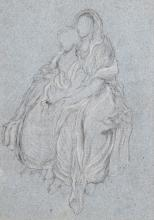 FREDERIC, LORD LEIGHTON, P.R.A.   Drapery Study ofthe Seated Girls Watching the Festival Procession in<em> The Daphnephoria</em>