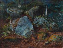 JOHN ATKINSON GRIMSHAW   Boulders in Storsforth Wood