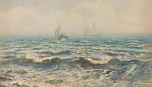 HENRY MOORE, R.A., R.W.S.   Mist Rising From the Sea