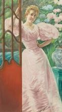 JAMES-JACQUES-JOSEPH TISSOT   Portrait of a Young Woman in a Conservatory