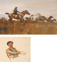 SIR ALFRED JAMES MUNNINGS, P.R.A., R.W.S.   Exmoor Ponies; Sketch of a Groom