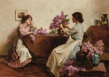 ALBERT CHEVALLIER TAYLER | Women Arranging Flowers
