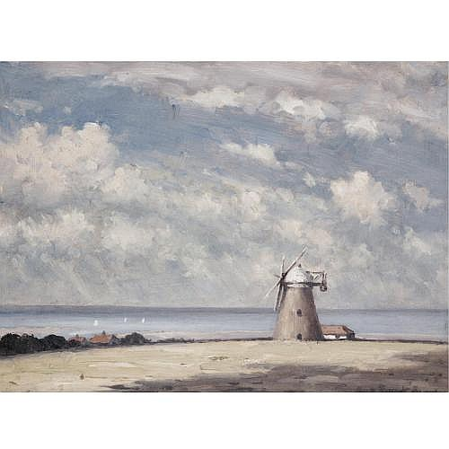 Hugh Boycott Brown, 1909-1990 , a suffolk windmill; morning at pin mill