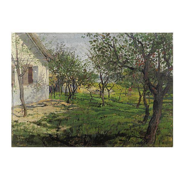 Béla Dery (Budapest 1868 - ?) , alberi da frutta olio su cartone pressato oil on cardboard