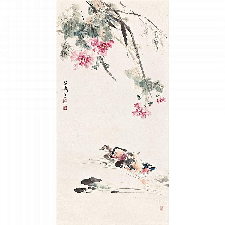 WANG XUETAO 1903 - 1992 MANDARIN DUCKS IN THE POND