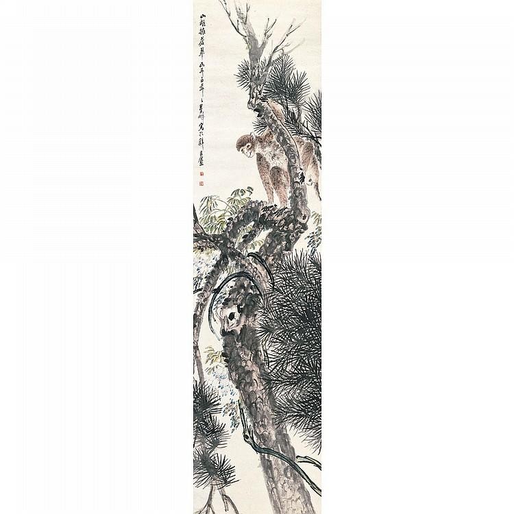 NI TIAN 1855-1919 MONKEY ON THE PINE TREE