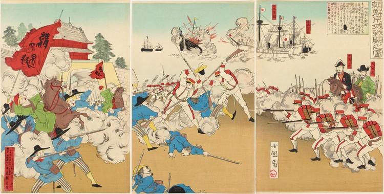 21 TRIPTYCHS BY KOBAYASHI KIYOCHIKA (1847-1915), OGATA GEKKO (1859-1920), BAIDO KOKUNIMASA (FL.C.1880'S-1910'S) AND OTHERS