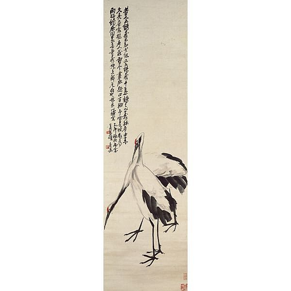 Wu Changshuo 1844-1927 , TWO CRANES ink and colour on satin, hanging scroll